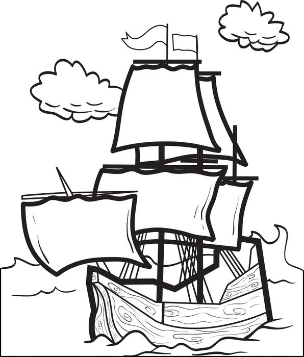596x700 Free Printable Mayflower Coloring Page For Kids