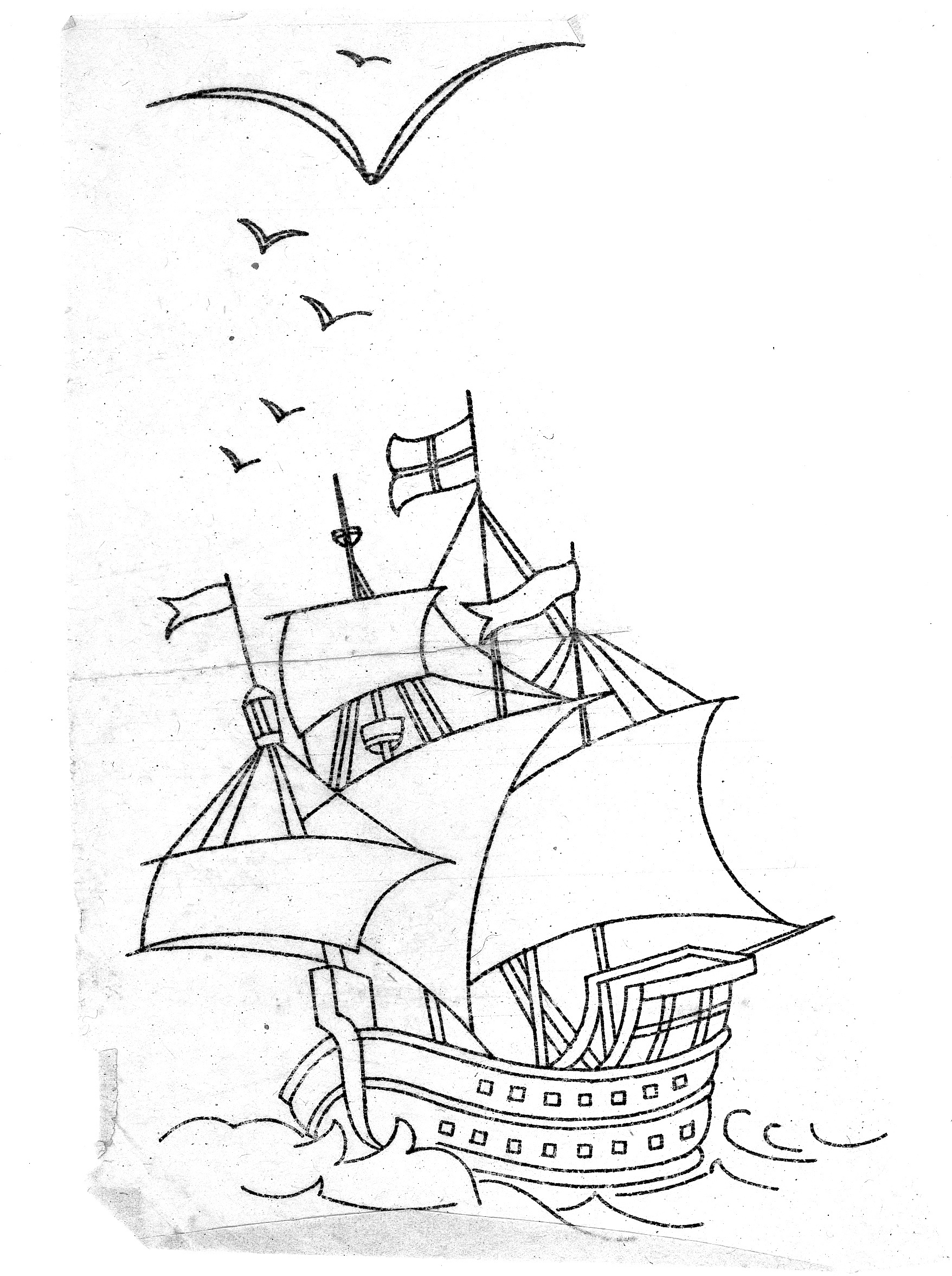 mayflower coloring pages - mayflower ship drawing at free for