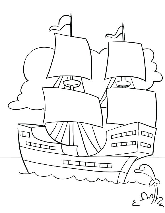 580x750 Mayflower Coloring Pages Mayflower Ship Coloring Page Mayflower