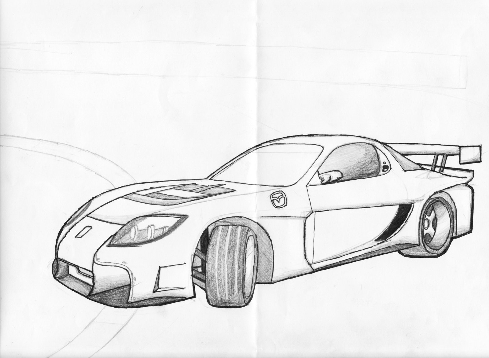 Mazda Rx7 Drawing At Free For Personal Use Tribute 2002 Vacuum Line Diagram Printable Wiring 1600x1171 Rx 7 Drift By Speedy 08