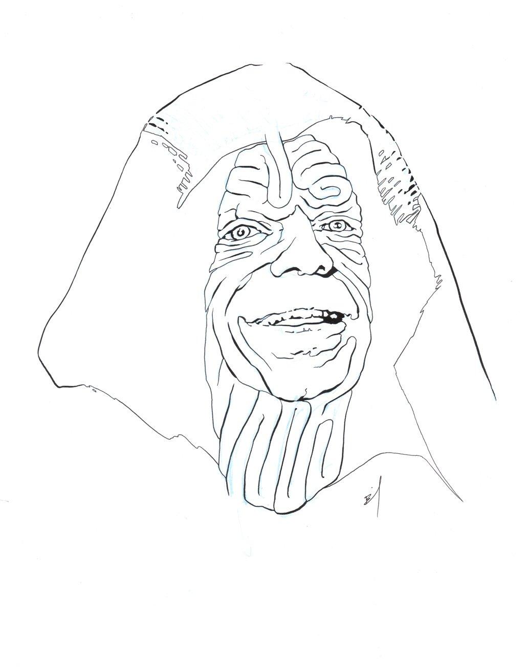 1032x1304 The Emperor Face Maze Original Ink Drawing Brandon Bird