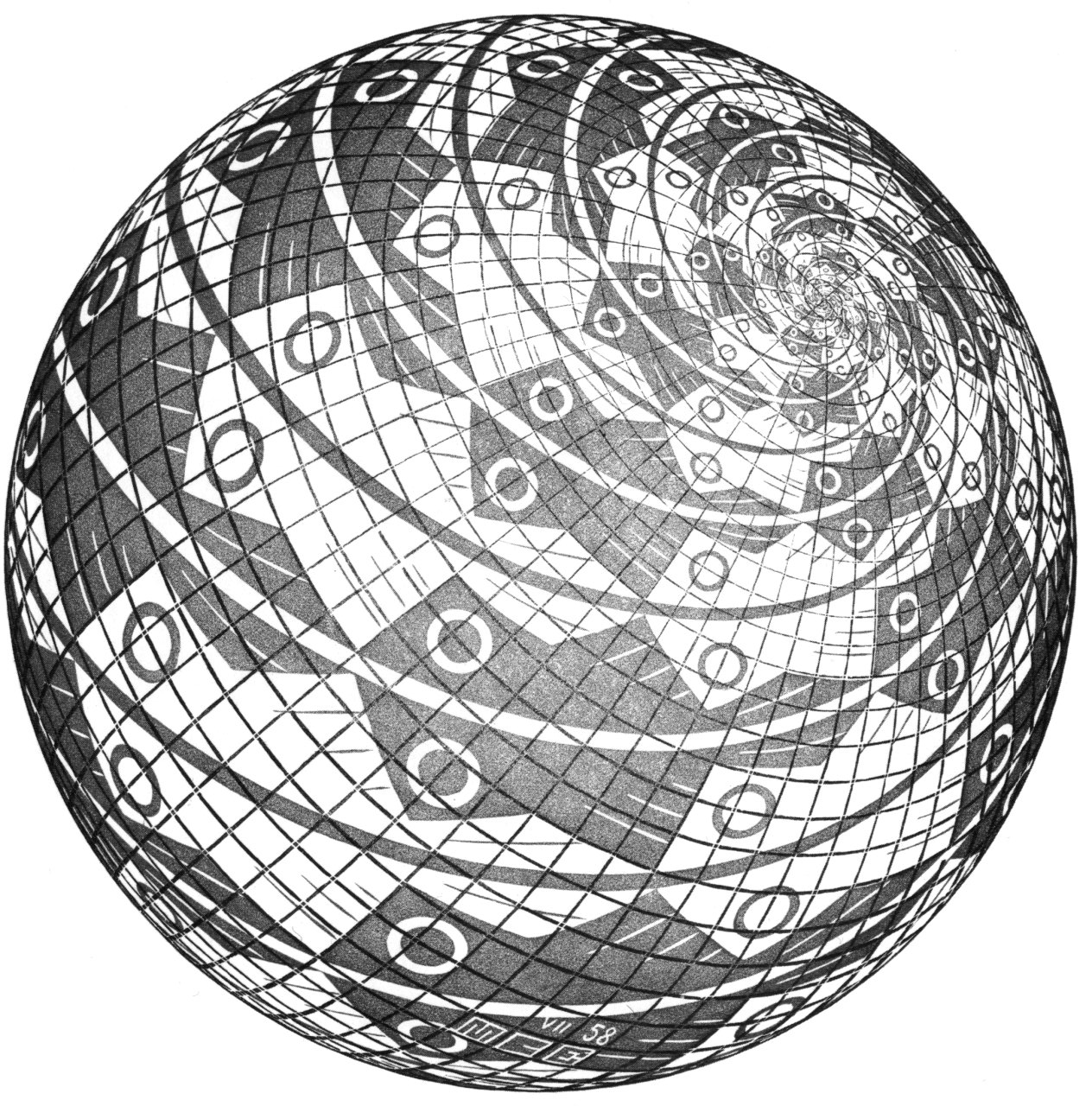 1264x1280 Escher Art Sphere Surface With Fishes