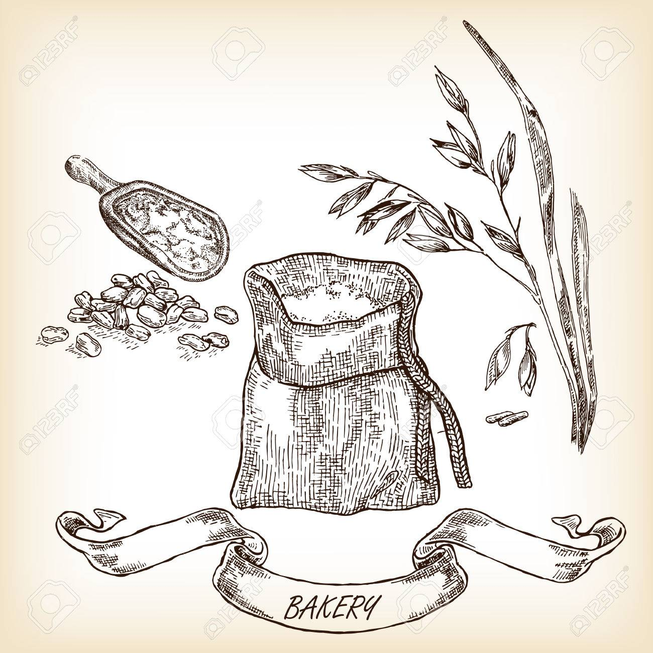 1300x1300 Hand Drawn Sack, Grain, Meal, Oats. Vector Illustration Royalty