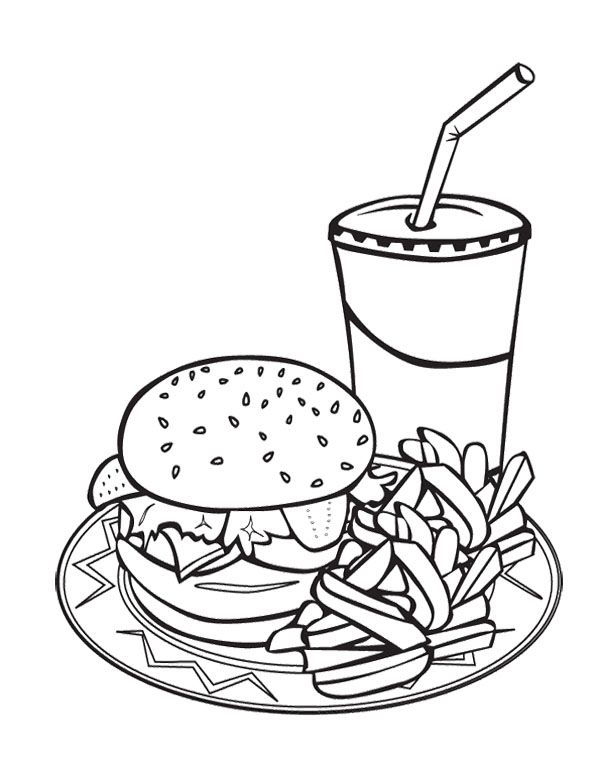 600x763 Junk Food Burger And Drink Coloring Page For Kids Action Man
