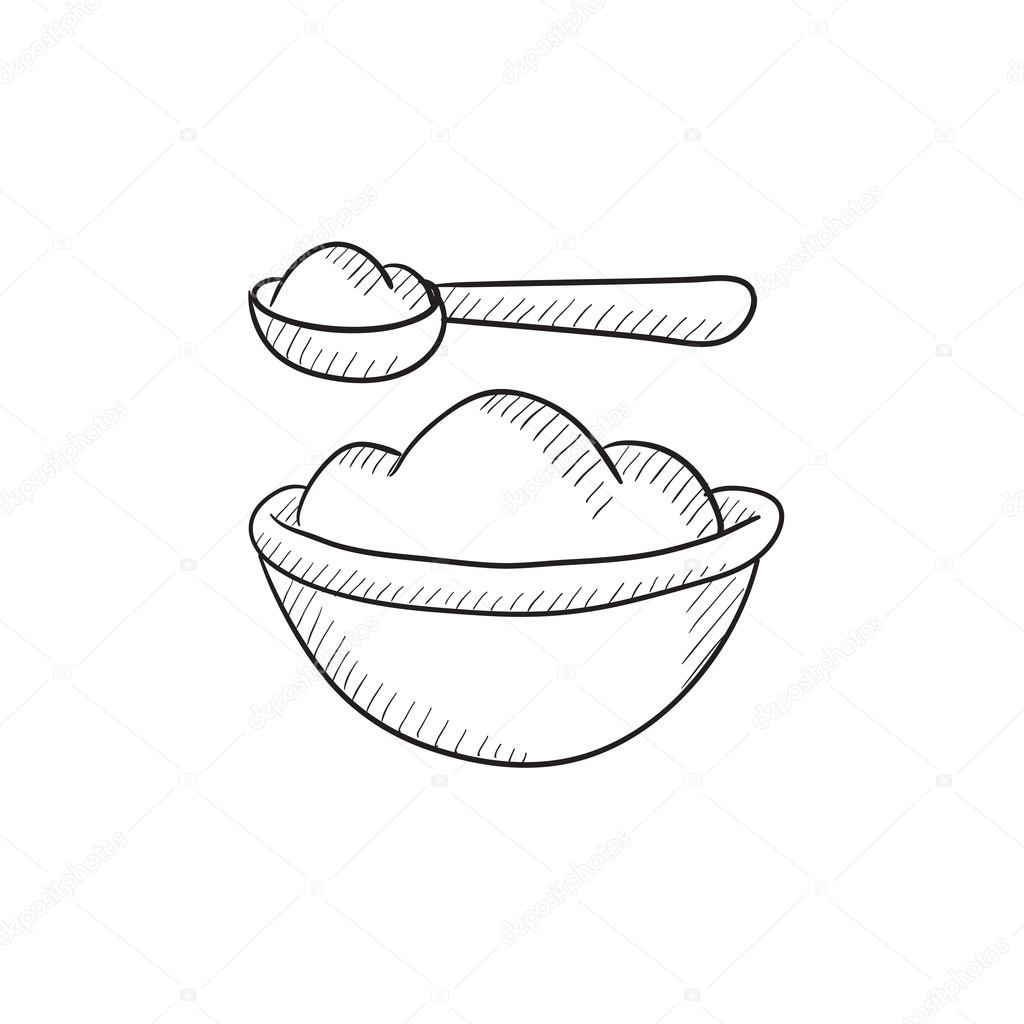 1024x1024 Baby Spoon And Bowl Full Of Meal Sketch Icon. Stock Vector