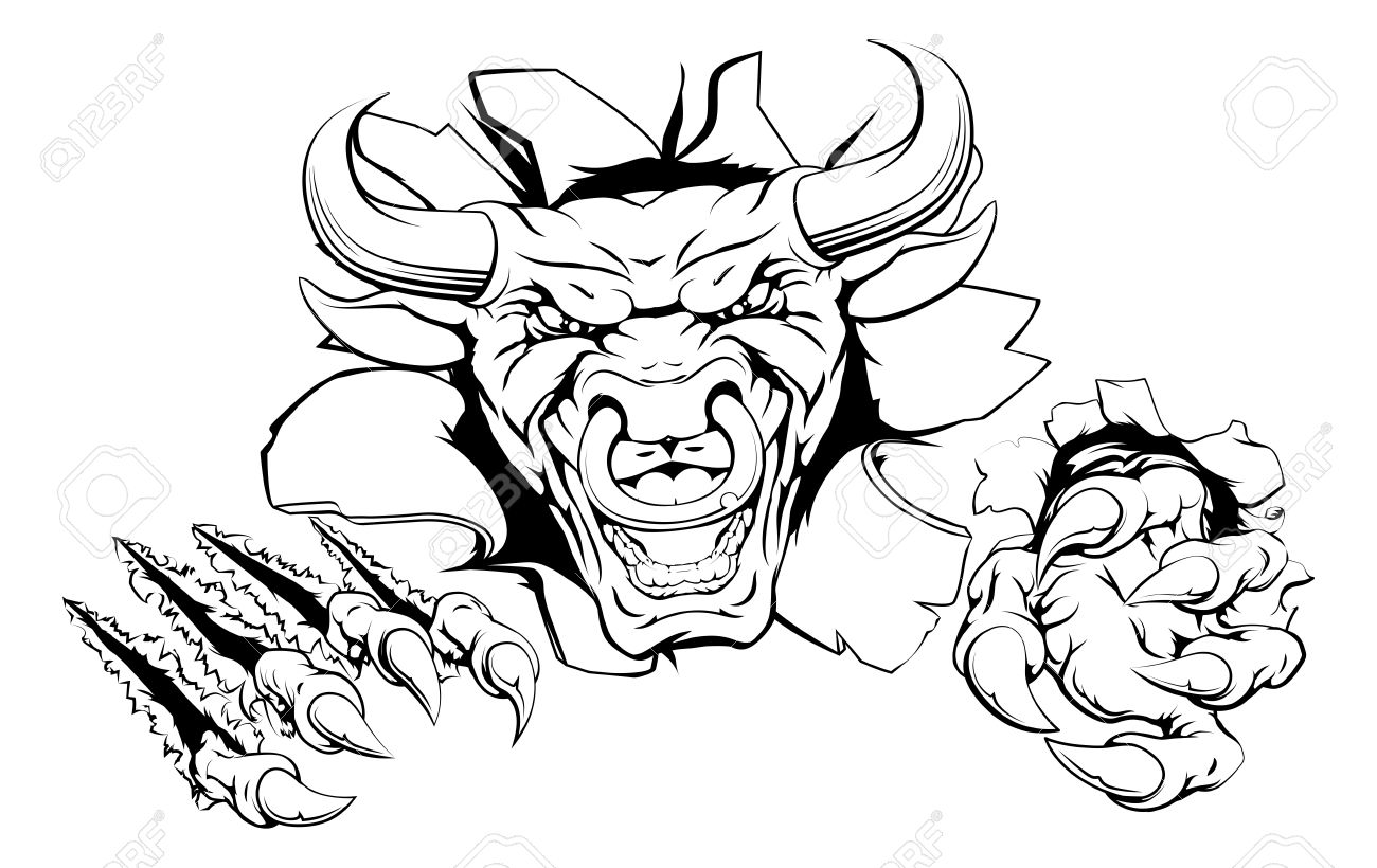 1300x820 Bull Mascot Breakthrough Concept Of A Bull Sports Mascot Or Animal