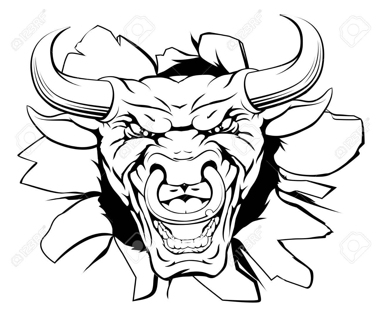 1300x1077 A Mean Bull Character Or Sports Mascot Breaking Out Clip Art
