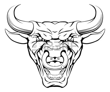 450x380 A Mean Looking Bull Mascot Character With A Ring Through Its