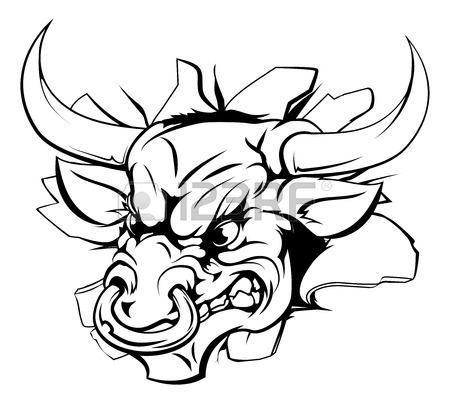 450x403 Mean Bull Breakout Drawing Of A Tough Angry Bull Character Royalty