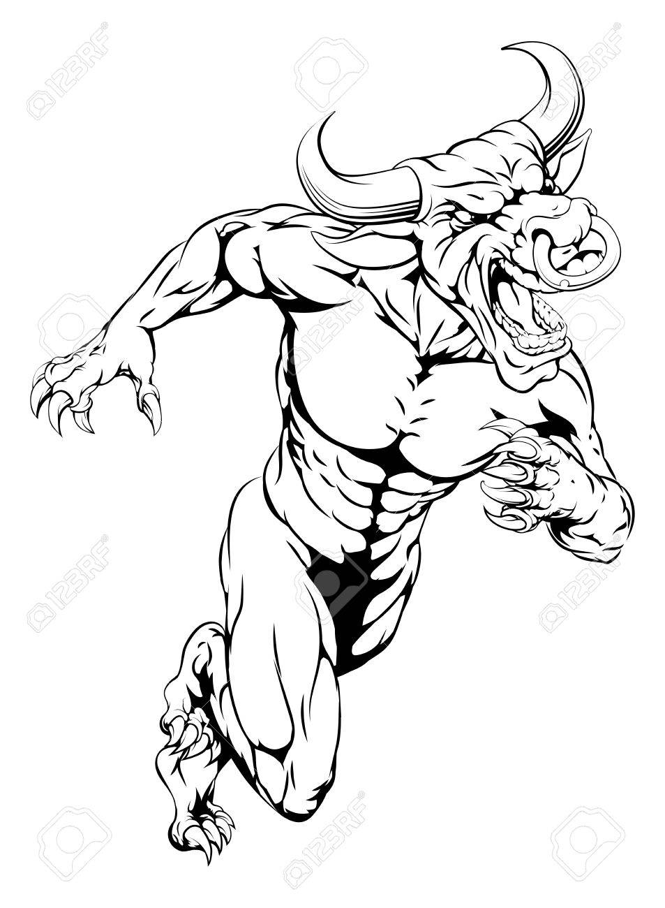 953x1300 An Aggressive Muscular Bull Sports Mascot Character Charging
