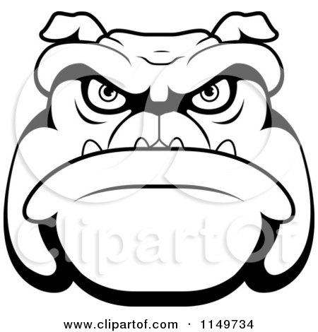 450x470 Cartoon Clipart Of A Black And White Mean Bulldog Face