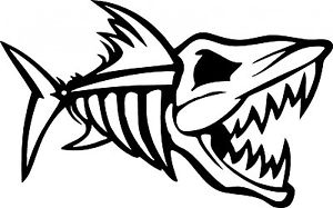 300x187 2 1r1l Mean Black Nitro Fish Skull Die Cut Vinyl Decal Sticker