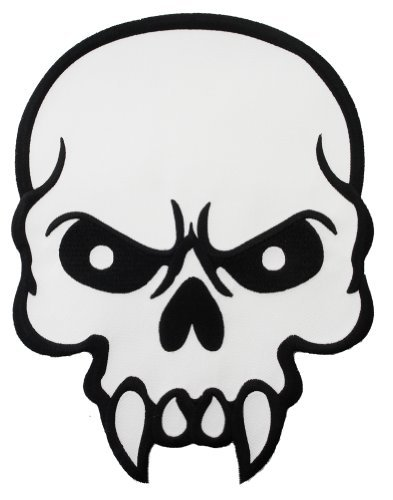 393x500 Mean Skull Embroidered Patch Skeleton Fangs Iron On Emblem