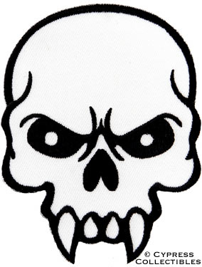 284x375 Vampire Fangs Skull Iron On Embroidered Patch Poison Skeleton 666