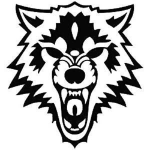 300x300 Mean Wolf Viscious Evil Scream Yell Growl Bear Teeth Die Cut Vinyl
