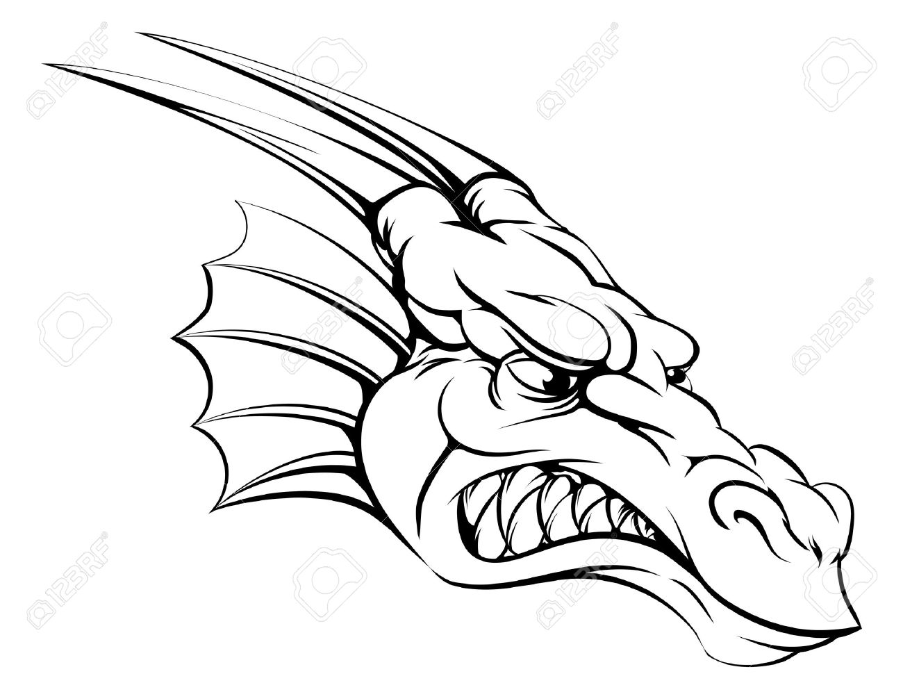 1300x1006 A Drawing Of A Mean Tough Dragon Mascot Head Royalty Free Cliparts