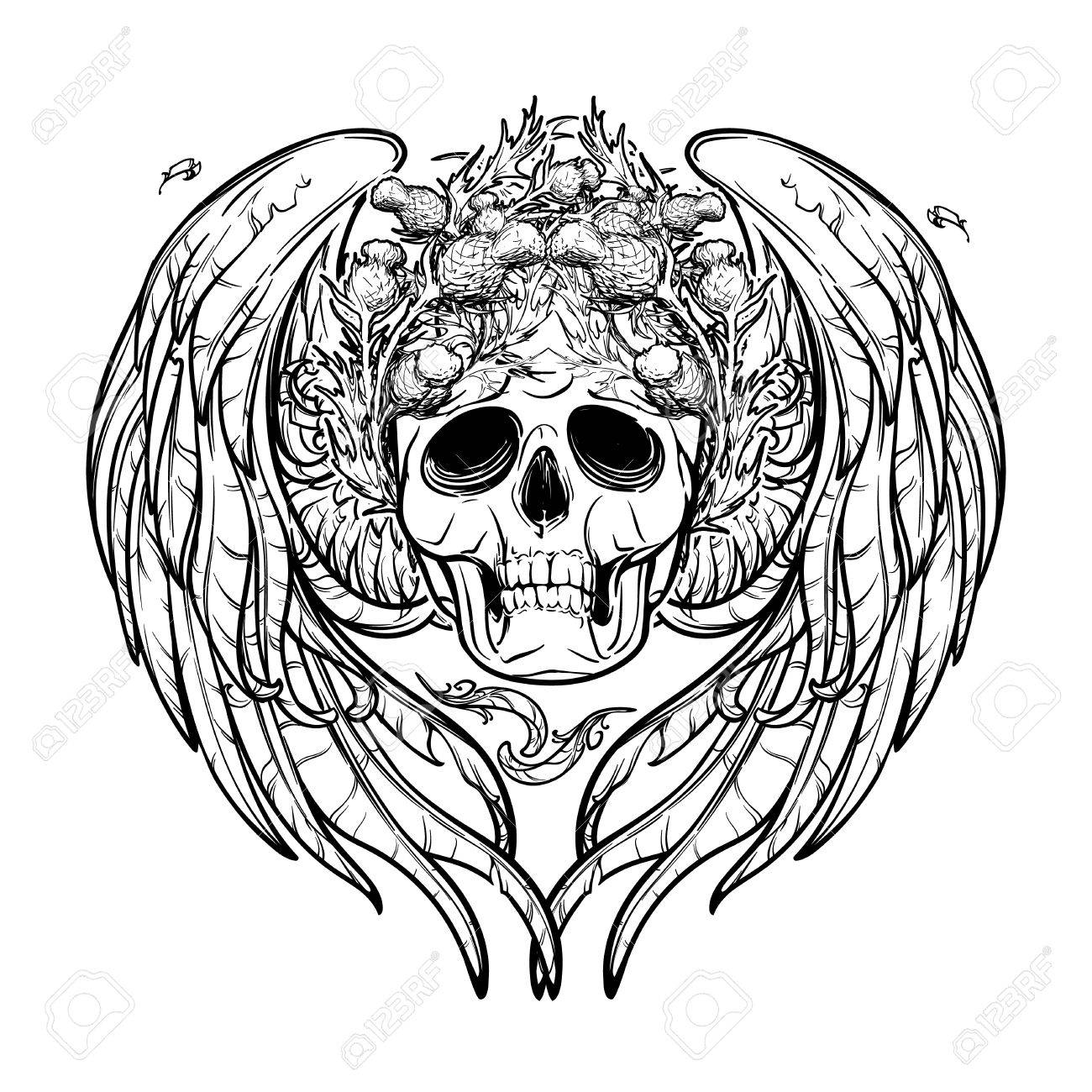 1300x1300 Human Skull In A Wreath Of Thistle With Feathered Wings Behind