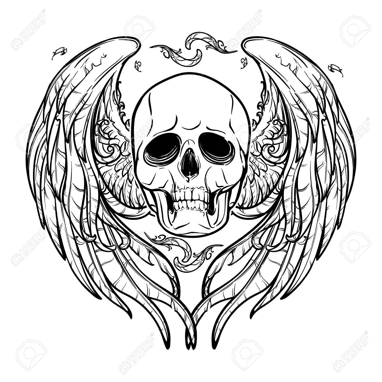 1300x1300 Human Skull With Feathered Wings Behind Isolated On White