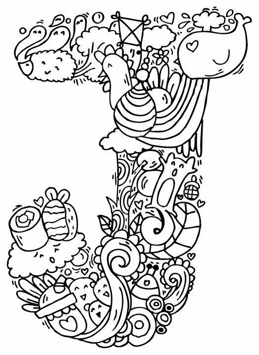 525x720 Alphabet J Doodle Art