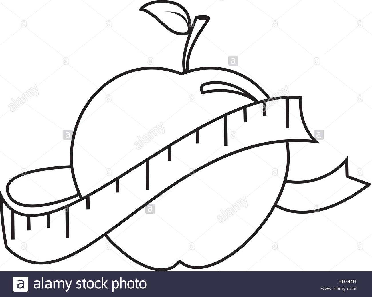 1300x1039 Silhouette With Apple And Measuring Tape Stock Vector Art