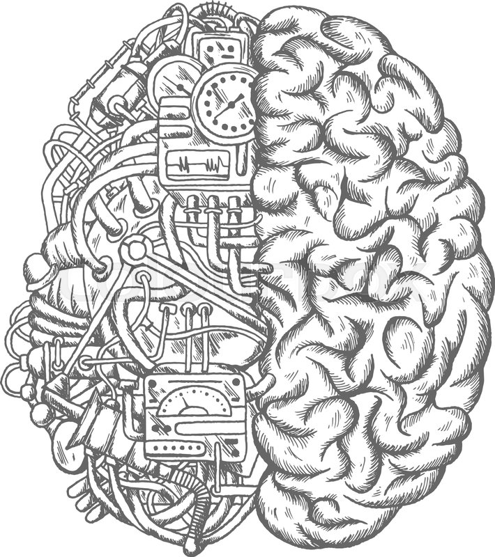 710x800 Brain Mechanism Sketch Vector Icon. Human Brain Half Of Machine