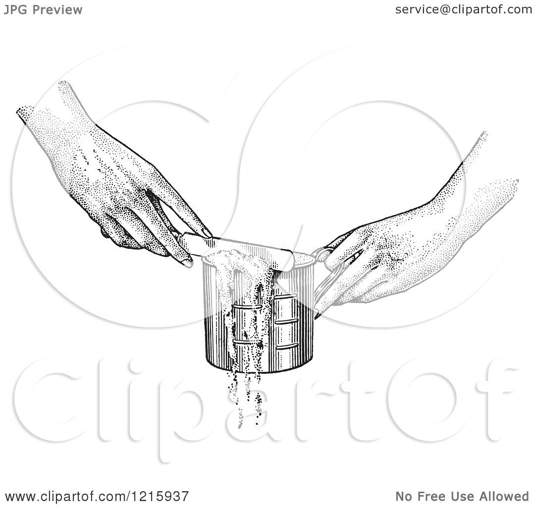 1080x1024 Vintage Clipart Of Hands Leveling Off A Measuring Cup With A Knife