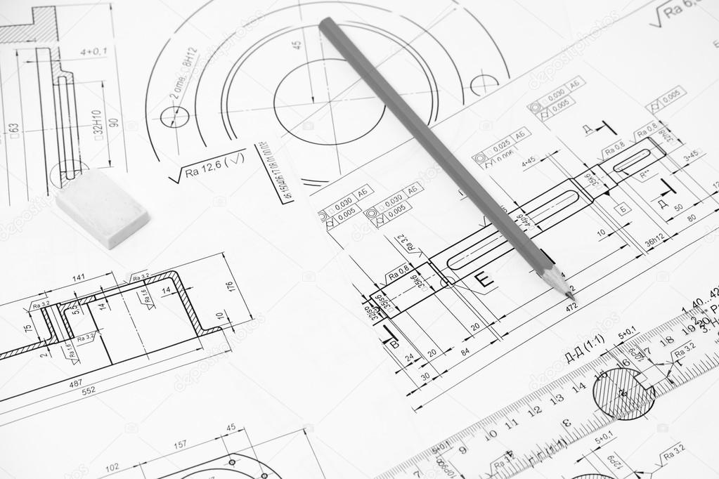 1023x682 Measuring And Drawing Instruments In The Drawings Stock Photo