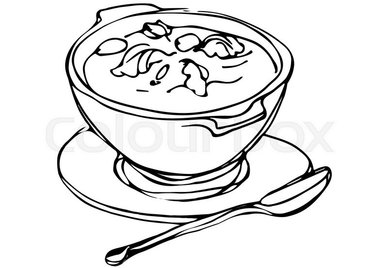 800x553 Vector Sketch Of A Bowl Of Soup With Herbs And Spoon Lying Next