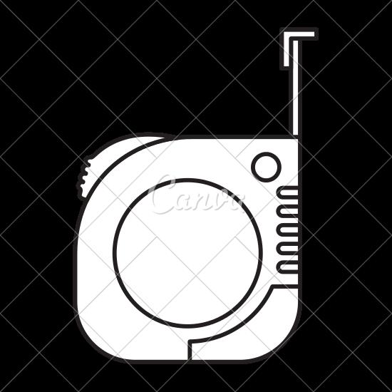 550x550 Measure Tape Icon Monochrome Silhouette