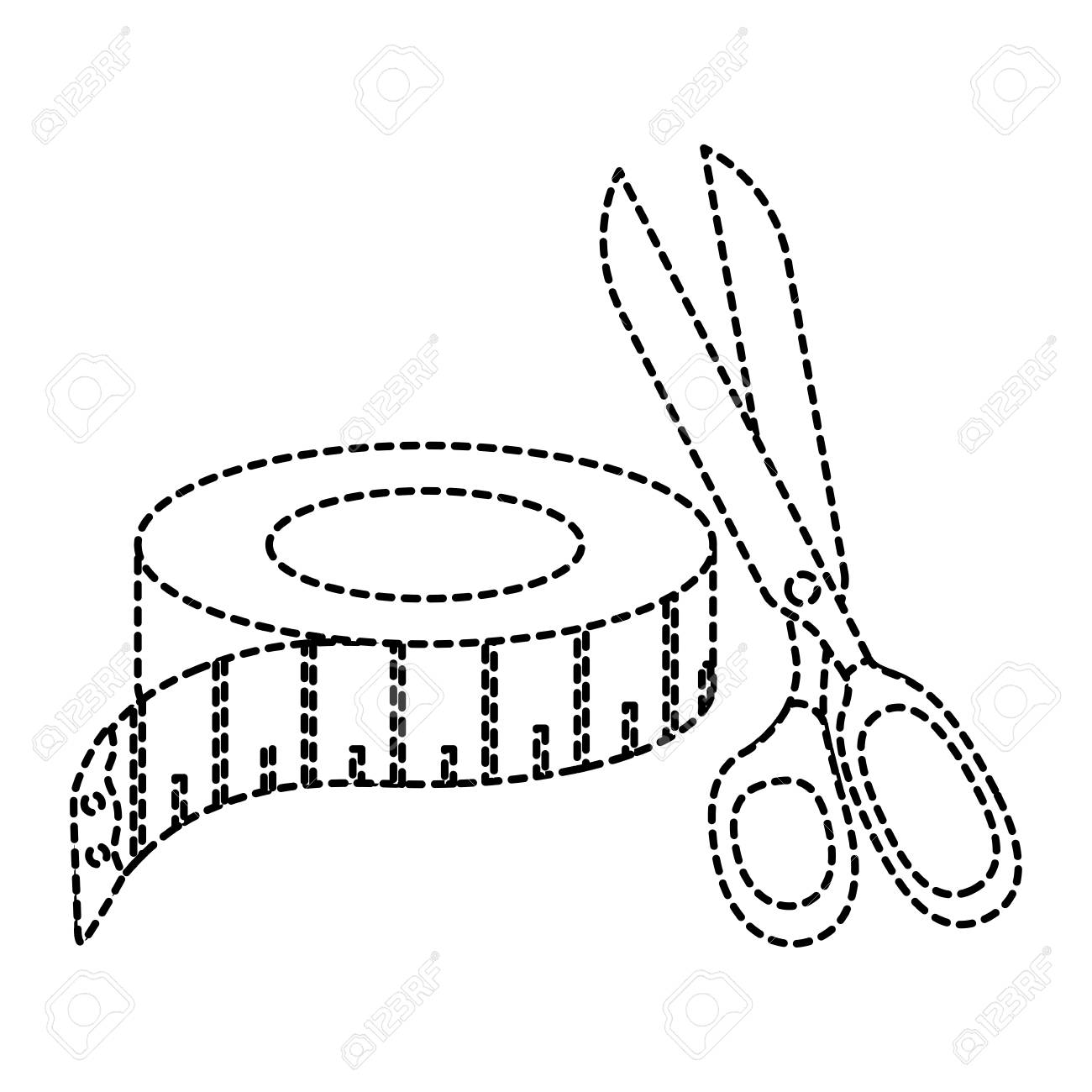 1300x1300 Sewing Tape Measure With Scissors Vector Illustration Design