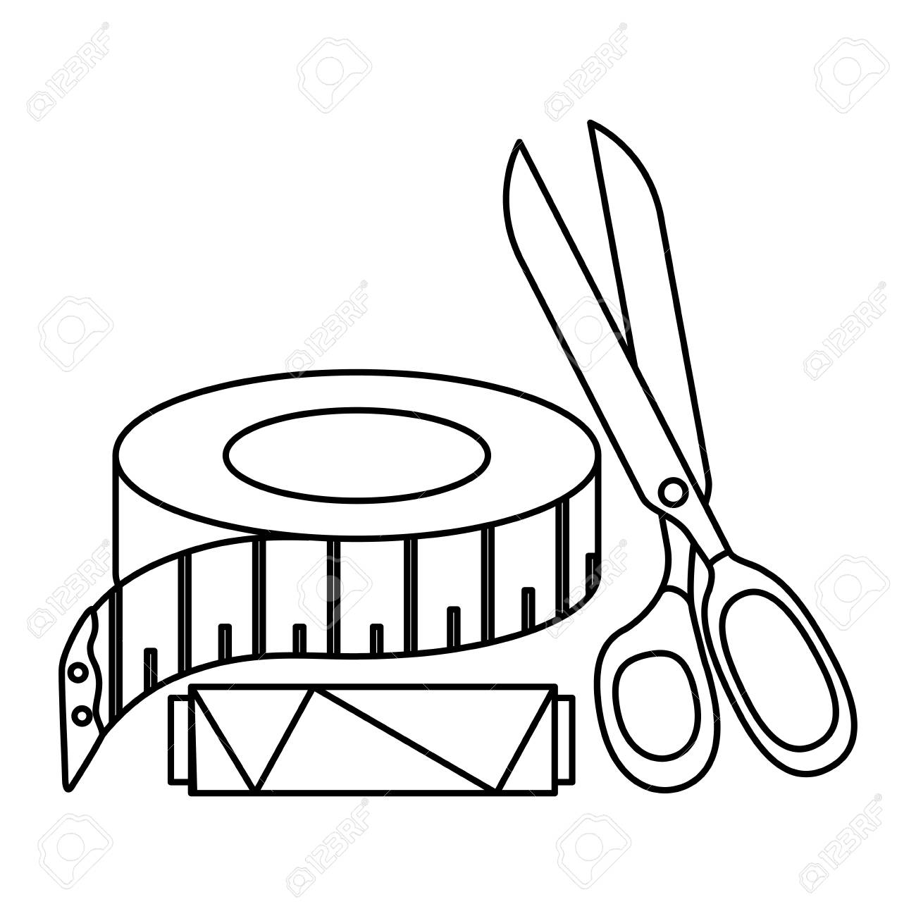 1300x1300 Sewing Thread Tubes With Scissors And Tape Measure Vector