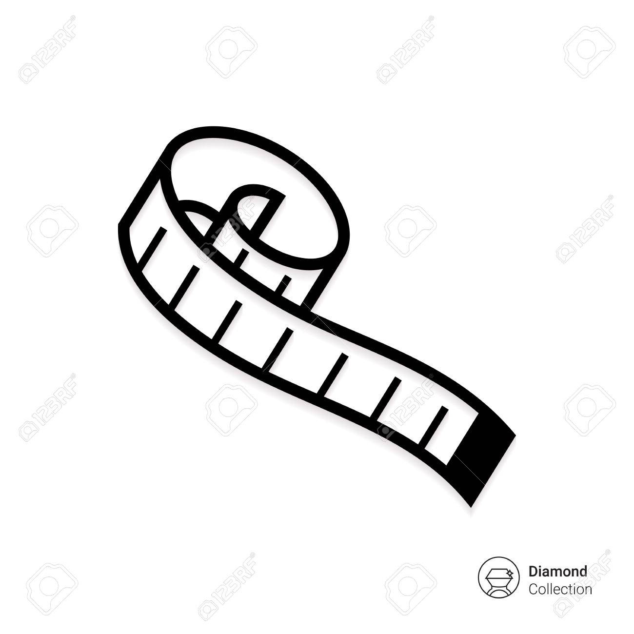 1300x1300 Vector Icon Of Rolled Tailor Measuring Tape Royalty Free Cliparts