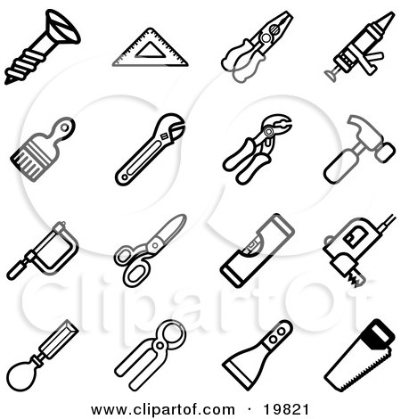 450x470 Clipart Illustration Of A Collection Of Black And White Screw