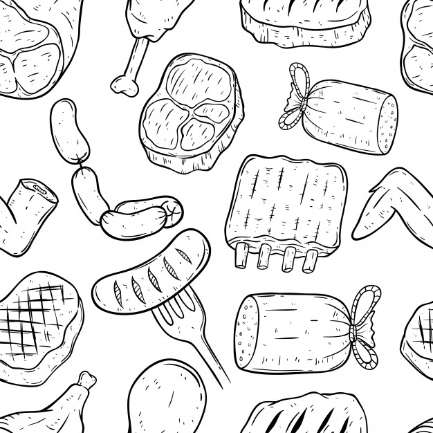 626x626 Pattern Of Meat With Doodle Art Or Hand Drawing Style Vector