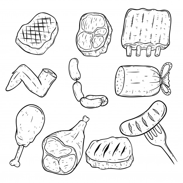 626x626 Set Of Doodle Or Hand Drawing Meat On White Background Vector
