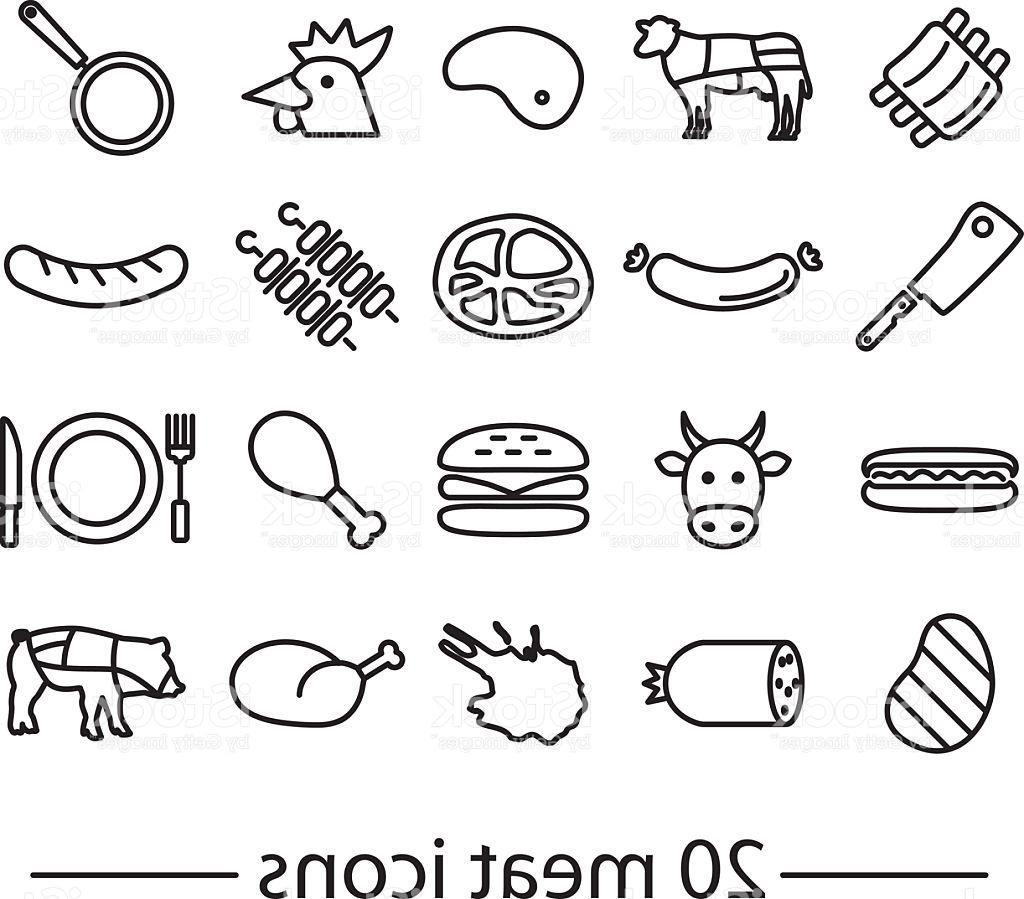1024x899 Top Twenty Line Meat Icons Vector Drawing