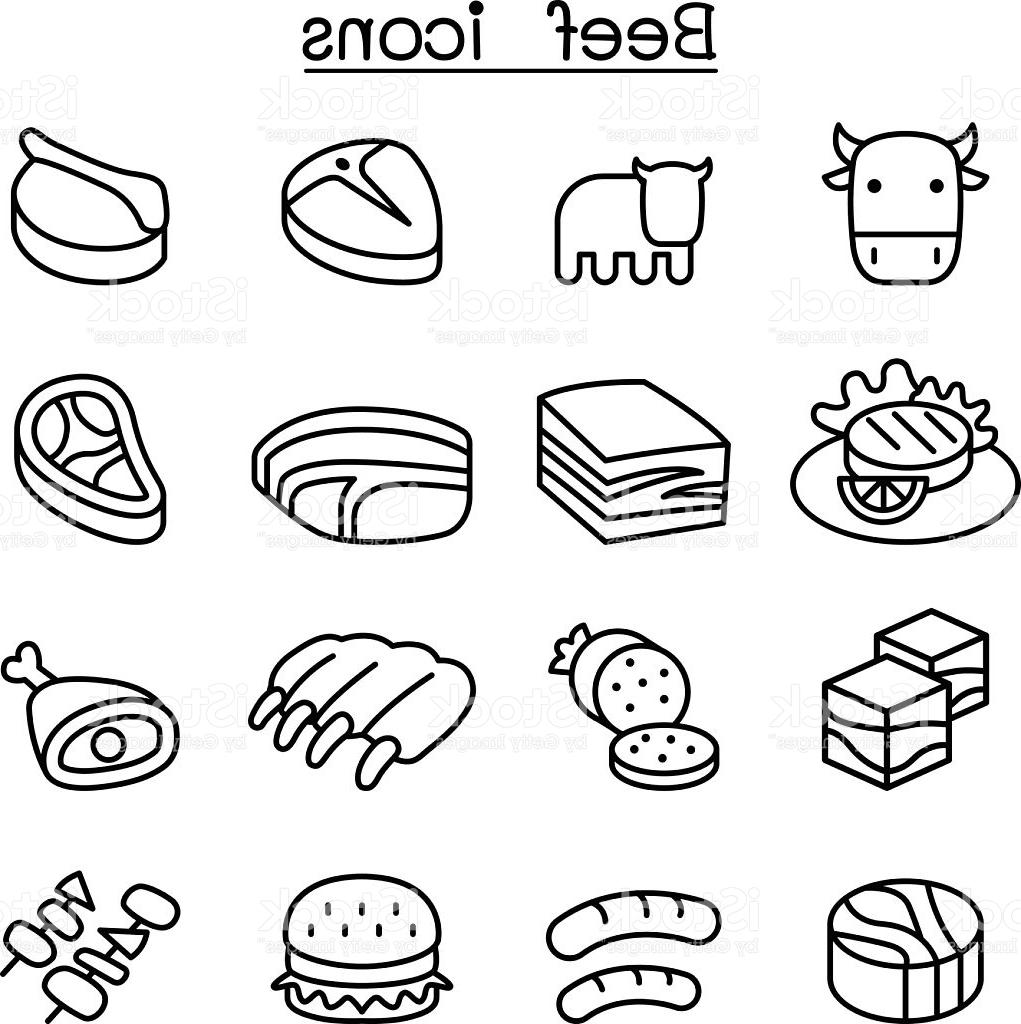 1021x1024 Unique Meat Beef Icon Set Vector Drawing