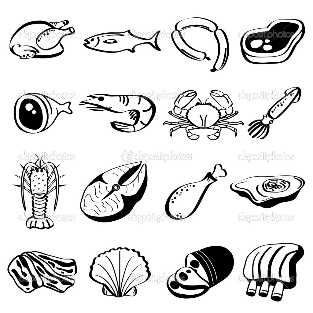 1024x1024 Black And White Cartoon Illustration Of Ham Or Haunch Meat Food