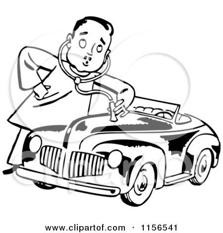 450x470 Clipart Of Blacknd White Retro Mechanic Man Giving Car