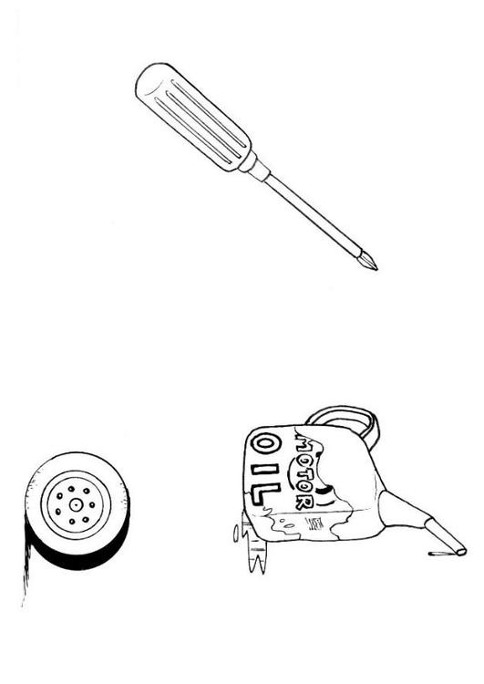 531x750 Coloring Page Auto Mechanic's Tools
