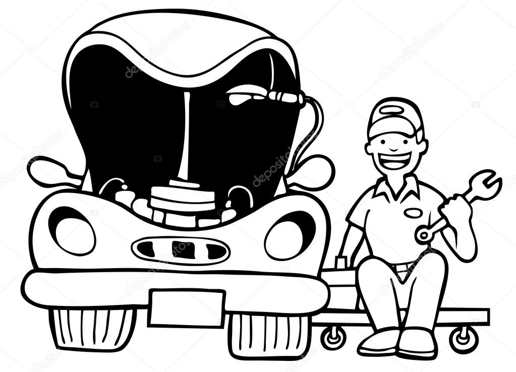 1023x738 Auto Mechanic Car Hood Stock Vector Cteconsulting