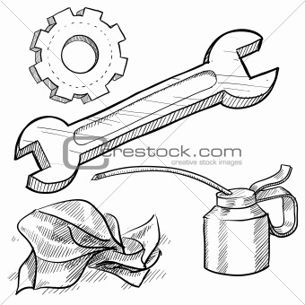 340x340 Image 4454306 Mechanic Tools Sketch From Crestock Stock Photos