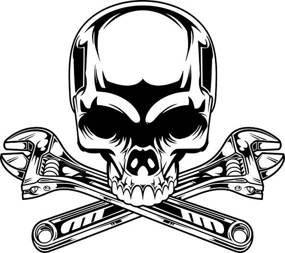 570x505 Mechanic Logo 2 Skull Wrench Crossed Engine Car Auto