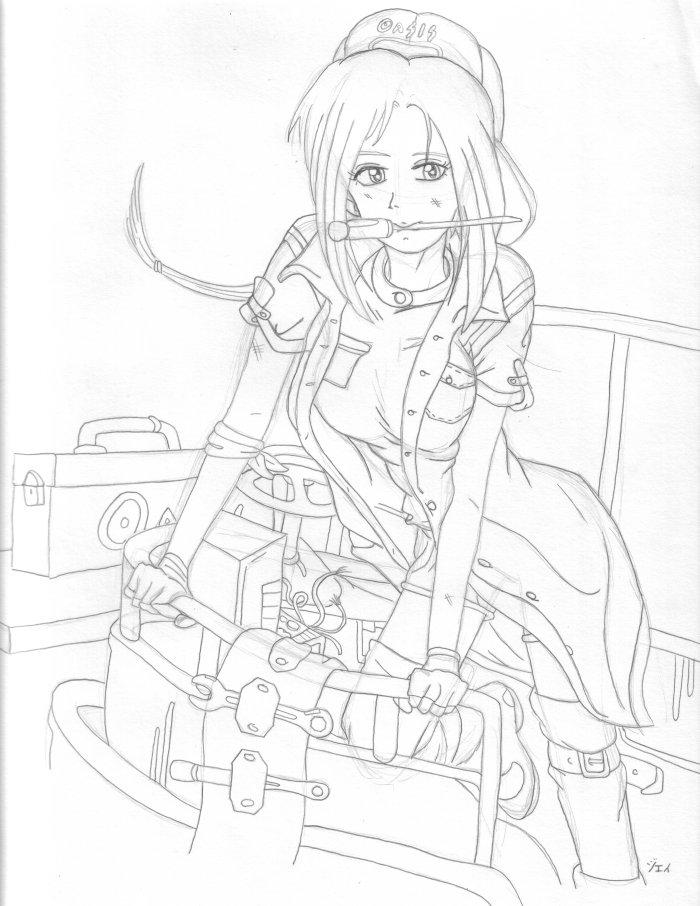 700x906 Mechanic Girl Wip By Animejei