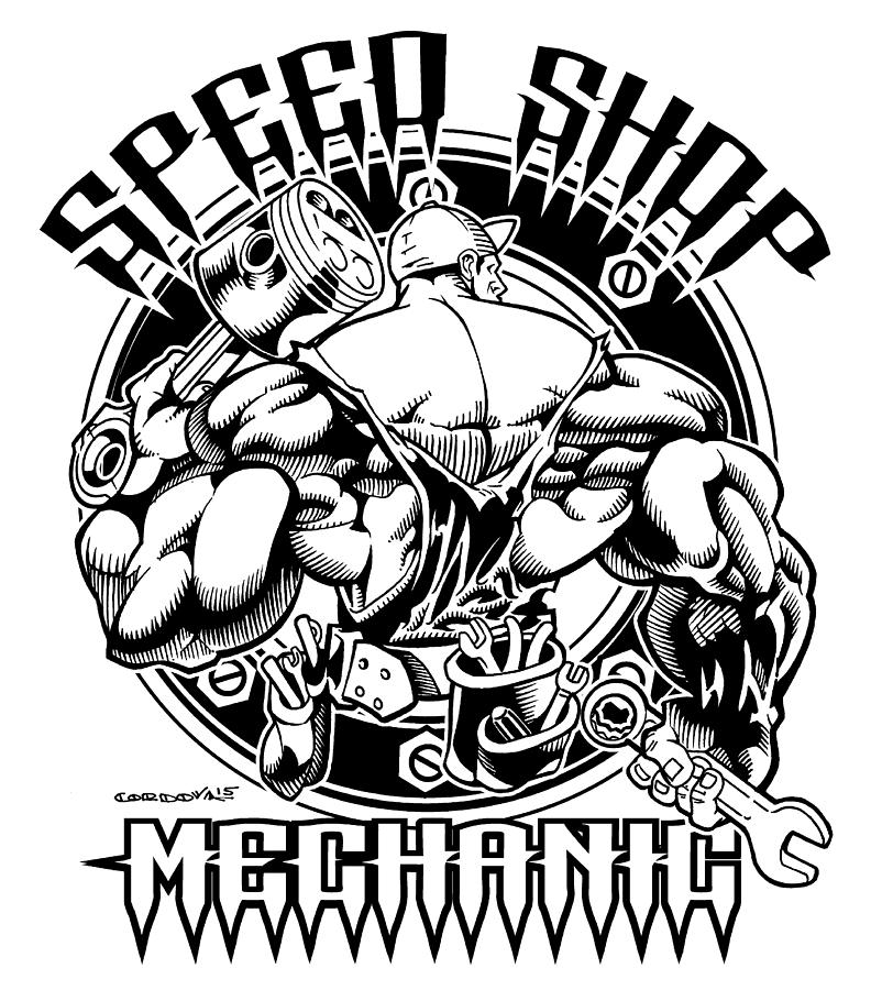 792x900 Speed Shop Mechanic One Color Drawing By Isaac Cordova