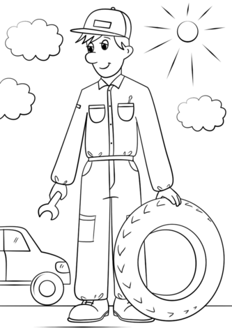 333x480 Car Mechanic Coloring Page Free Printable Coloring Pages