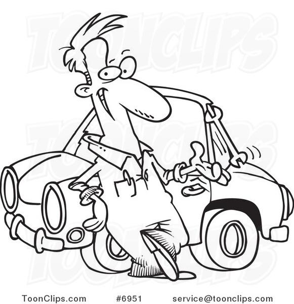 581x600 Cartoon Blacknd White Line Drawing Ofuto Mechanic Tossing