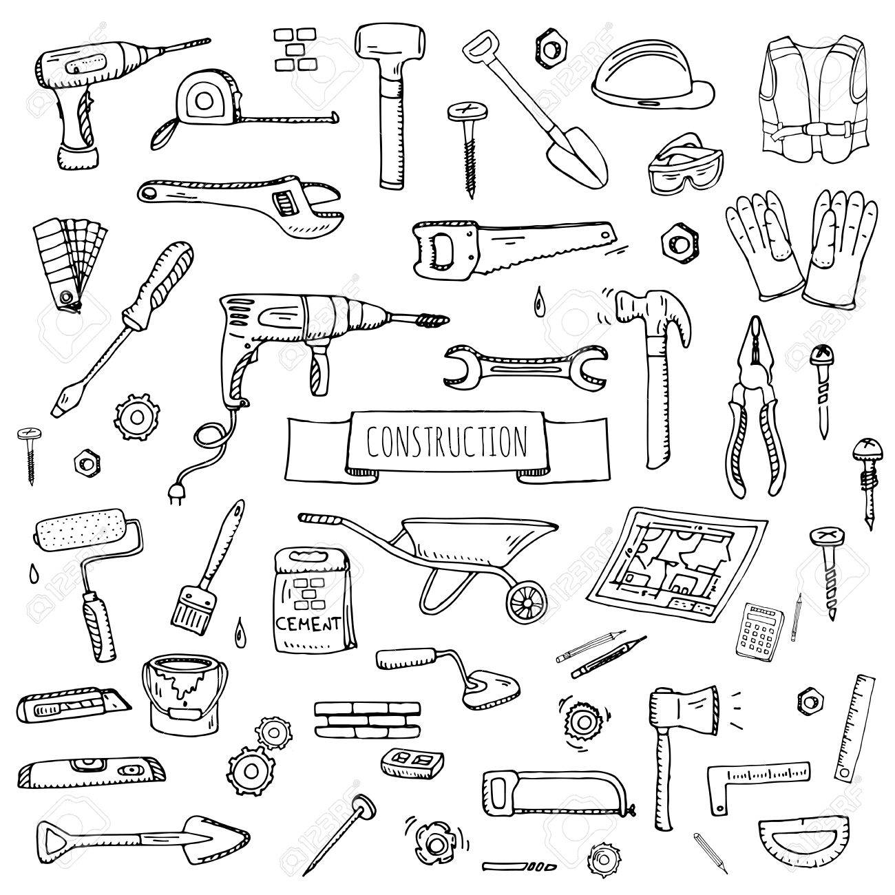 1300x1300 Hand Drawn Doodle Construction Tools Set Vector Illustration