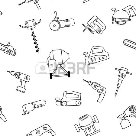 450x450 Seamless Pattern Of Repair Tool Icons. Home Repair Signs. Worker