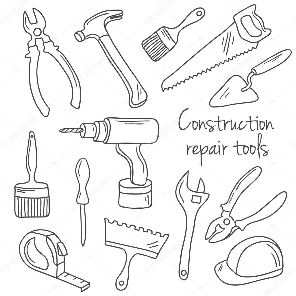 1024x1024 Vector Hand Drawn Construction And Repair Tools Set Stock